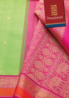 Lovely parrot green saree with pink and orange korvai border. Gold annam motif stands proudly in this enchanting combination. Pallu is a sheath of shimmering pink gold with royal elephant and floral motifs. The saree is a complete celebration. #Utppalakshi #Sareeoftheday#Silksaree#Kancheevaramsilksaree#Kanchipuramsilks #Ethinc#Indian #traditional #dress#wedding #silk #saree#craftsmanship #weaving#Chennai #boutique #vibrant#exquisit #pure #weddingsaree#sareedesign #colorful #elite