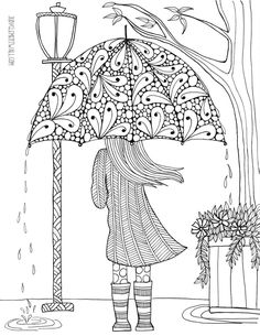 free printable colouring in page girl with an umbrella Spring Coloring Pages, Printable Adult Coloring Pages, Coloring Pages For Girls, Flower Coloring Pages, Animal Coloring Pages, Coloring Pages To Print, Coloring Book Pages, Coloring Sheets, Mandala Coloring