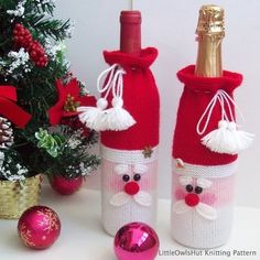 152 Knitting Pattern - Santa bottle covers for wine and champagne - Amigurumi - by Zabelina Knitting (branches are Crochet) Pattern - Christmas Tree New Year pattern - Amigurumi by Zabelina Etsy Christmas Ornament Crafts, Christmas Crafts For Kids, Xmas Crafts, Christmas Decorations, Crochet Santa, Christmas Crochet Patterns, Christmas Knitting, Christmas Wine Bottles, Wine Bottle Covers