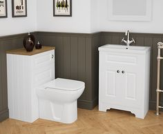 White bathroom furniture gives a refreshing look, and works particularly well in smaller bathrooms, cloakrooms or en-suites.