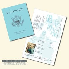 Passport Invitation - Travel Theme Invitation - Personalized Printable File or…