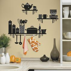 RoomMates Build a Kitchen Shelf Peel and Stick Giant Wall Decals, Multi-Colored Cheap Wall Decals, Kitchen Vinyl, Kitchen Wall Stickers, Kitchen Wall Art, Kitchen Shelves, Vinyl Wall Decals, Kitchen Decor, Diy Kitchen, Unique Wall Decor