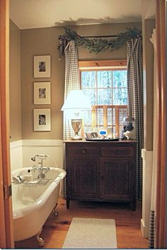 Bathroom tweaking - Talk of the House, love the fact that the bathroom is a real room with furniture in it. But i would like a terrazzo floor because of the water. Architecture Design, Country Baths, Primitive Bathrooms, Rustic Bathrooms, Chic Bathrooms, Cottage Bath, Laundry In Bathroom, Bathroom Wall, Beautiful Bathrooms