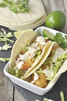 San Diego Style Fish Tacos - I lived on these when I was in San Diego and this recipe from home based mom sounds scrumptious.