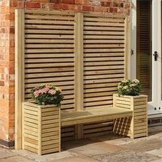 The Rowlinson Slatted Planter Bench Set is an extremely modern set of planters and screens designed to create a statement piece of furniture for your garden. Part of Rowlinson's fantastic 'Slatted Garden Creations' range the bench set includes two full Wooden Bench Seat, Window Benches, Planter Bench, Planter Boxes, Garden In The Woods, Home And Garden, Patio, Backyard, Planter Liners
