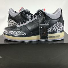 6a14894f61c8 (eBay Sponsored) 2008 Air Jordan AJF Fusion 3 Black Cement 323626061 Size 9