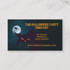Business Card Featuring An Angry Black Cat At Night With A Spider Hovering Over