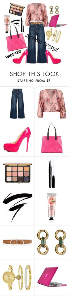 """Wide Open"" by m-aviles-ma ❤ liked on Polyvore featuring M.i.h Jeans, Sans Souci, Christian Louboutin, Kenzo, The Body Shop, White House Black Market, SO & CO, Speck, denimtrend and widelegjeans"