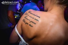 "#Tattoo reads:  ""Forever and ever, Life is now or never, Forever's gonna Slow you down."""