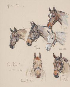 Peter Biegel (1913-1988) Quorn horses' Waterolour