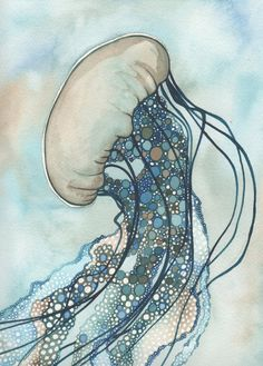 JELLYFISH Two 5 x 7 print of detailed by DeepColouredWater on Etsy