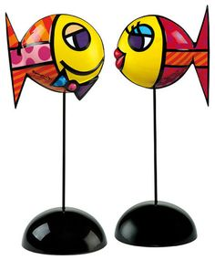 """Romero Britto: Set of 2 porcelain fish """"Deeply in Love I + II"""","""