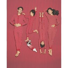 Red Stripe Family Sleep Collection