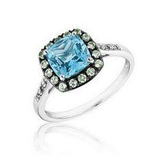 Swiss Blue Topaz, Peridot and Created White Sapphire Ring - 19408434