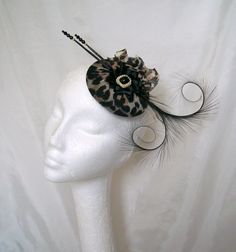 Leopardprint Diana Fascinator By Gothic Diva Designs Specialising in Fabulous Elegant Gothic, Victorian Vintage & Steampunk inspired wedding designs,  Including mini hat fascinators, formal hats, feathered hair clips, ostrich & peacock feather fans, black
