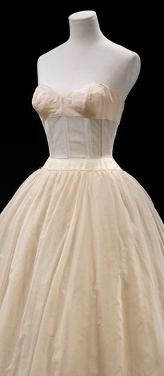 Corsetted underdress by Pierre Balmain. Silk netting and tulle, Paris about 1950. Museum no. T.349-1975