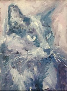 Original oil on canvas painting by Tiffany Aron. Depicts a cat in an impressionistic style. More of her work can be found on her face book page www.facebook.com/fineartbytiffanyaron