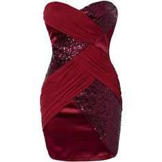 Elise Ryan Sequin Mesh Bandeau Dress ($80) ❤ liked on Polyvore