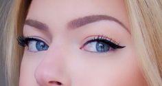Black winged eyeliner for hooded eyes! Makeup look for fall Flawless Face Makeup, Sultry Makeup, Pale Skin Makeup, Blue Eye Makeup, Smokey Eye Makeup, Asian Makeup, Korean Makeup, Winged Eyeliner Hooded Eyes, Winged Eyeliner Tutorial