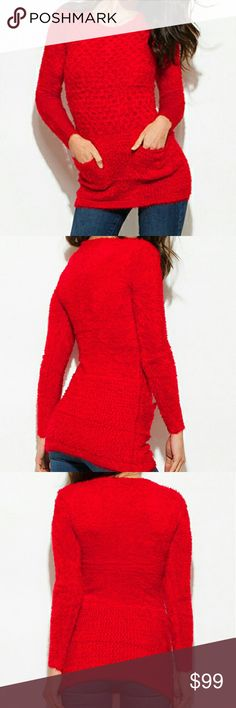 """Red textured fuzzy soft sweater, 2 pockets HP Red textured fuzzy soft sweater, 2 pockets  Can be tunic or even mini dress  Brand: C-Mode  Model is wearing OSFA, I'd say small to large, has incredible stretch,    Material is 45% acrylic,35% Cotton blend & 20% cotton  Hand wash cold  Gorgeous & incredibly soft, have 2 of this color, 1 red under other listing  Armpit to armpit flat is 17"""" (to 25"""" stretched full)  Shoulder to hem is 30""""  🎉🎉🎉HP by @hellovintage style crush 12/23 my thanks…"""