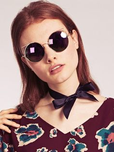 Dahlia Gold Round Sunglasses with Metal Cat Eye Shape and Mirrored Lens   Dahlia