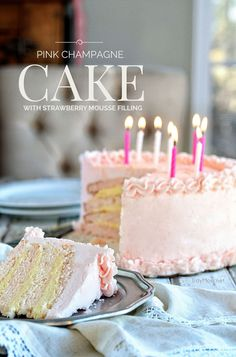 This cake is not only perfect for a birthday, but would be fabulous for a wedding or New Year Party. The Pink Champagne Cake with Strawberry Mousse filling and topped with Pink Champagne Buttercream is totally worth the effort, time and clean up!
