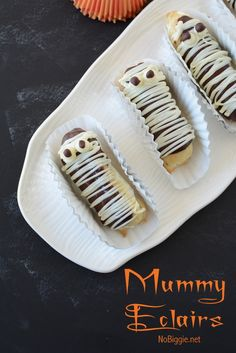 Chocolate Eclair Mummies | NoBiggie.net | Learn how to make these spooky treats for your next Halloween Party. Have you ever made eclairs before? They are one of those things that feel a little intimidating from the start, but they actually are not that hard and the Wow factor you'll receive from family and friends who try them will make it all worth it! We've made a fun Halloween verison of the classic chocolate eclair...Eclair Mummies! Before you can make Mummy Eclairs, you need to ...
