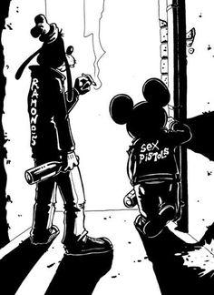 Disney Punk Mickey and Goofy Disney Punk, Dark Disney, Disney Art, Disney Mickey, Hipster Disney, Disney Style, Cartoon Cartoon, Cartoon Kunst, Alternative Disney