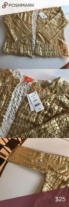 Gold cardigan Stunning metallic gold crocheted cardigan. New with tags. Size medium. Joe Fresh Sweaters Cardigans
