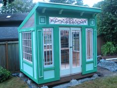 Little Mansions Storefront shed cottage with reclaimed windows. 2013. www.artisanstructures.com. We Ship!