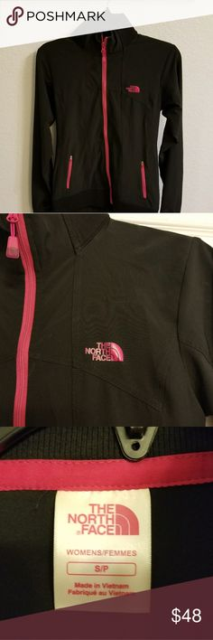 NWOT The North Face black jacket  pink trim SP NwOT Excellent condition North Face black/pink jacket.... lightweight and never worn. The North Face Jackets & Coats