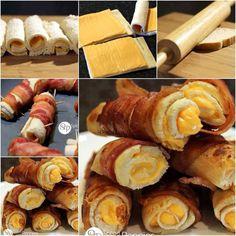 Pão de forma, queijo, bacon e alguns palitos