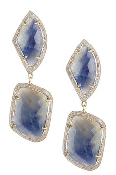 Sapphire & White Diamond Double Drop Earrings
