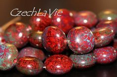 Czech Pressed  Puffed Coin Beads red opaque with picasso finish