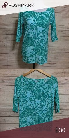 ⚡️Flash Sale Lilly Pulitzer Boatneck Top Excellent condition wide-neck top by Lilly Pulitzer with 3/4 length sleeves is made of 100% cotton and is super soft and comfy. Adorable print called the Toucan Tango has pineapples and toucans in a blue and green pattern. No rips, stains, fading, pilling or any other damage. •••••••••••••••••••••••••••••••••••••••••••••••••••• FLASH SALE PRICE *FIRM* Unless bundled    ⚡️Offers not accepted on this item!⚡️…