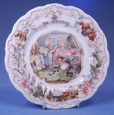 Royal Doulton Brambly Hedge Bone China Tea Cup & Saucer - The Birthday = The Plate features The Birthday from a series of Special Occasion china, illustrated by Jill Barklem in 1987.
