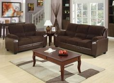 2pcs Chocolate Corduroy Fabric/ Simulated Leather Sofa Set W Loveseat