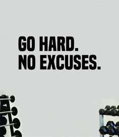 Go Hard No Excuses Fitness Gym Wall Decal Home Decor Bedroom Room Vinyl Sticker Art Teen Work Out Quote Beast Strong Inspirational Motivational Health School Lift - orange