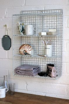 Wall Mounted Wire Storage Shelving Unit - White