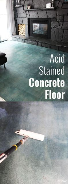 If you're looking for a durable, high impact flooring option that won't totally break the bank, consider a diy acid staining project. Muriatic acid, available in a variety of colors, penetrates concre Concrete Patios, Colored Concrete Patio, Acid Stained Concrete Floors, Acid Concrete, Stamped Concrete, Concrete Floor Diy, Concrete Countertops, Painting Concrete Floors, Concrete Floors In House