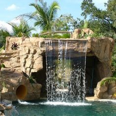 Gallery > Standard Swimming Pool Waterfalls by RicoRock®, Inc. - A new way to build custom swimming pool waterfalls. Backyard Pool Landscaping, Backyard Pool Designs, Swimming Pools Backyard, Swimming Pool Designs, Backyard Waterfalls, Backyard Ideas, Swimming Pool Waterfall, Natural Swimming Pools, Rock Waterfall