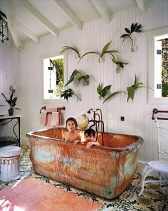Tile, copper bath tub, wall planters - NEED them all. From the Archives: The Beauty of Tile in Vogue Homes