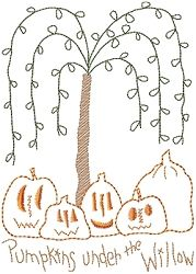 Pumpkins Under The Willow Sampler - 5x7 | Fall | Machine Embroidery Designs | SWAKembroidery.com HeartStrings Embroidery