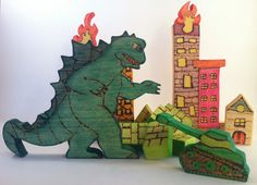 Wooden Godzilla Open Ended Play Toy / Wooden Eco Friendly Handmade Toys / Montessori Stacker / Waldorf Puzzle / Nursery Decor