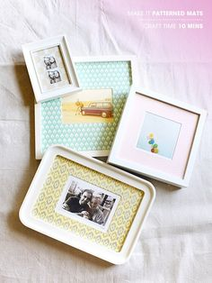 MAKE IT / 16-today we are adding a little interest to those white frames you have in your home. we ended up using some beautiful patterned paper from our favorite LA paper shop urbanic! this would be a thoughtful gift for a friend, or your mom, or anybody really!