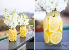 wedding decor orange green yellow Mason Jars