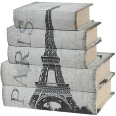 5-Piece Paris Book Box Set Halsey Greene ❤ liked on Polyvore featuring home, home decor, small item storage, books, decor, fillers, accessories, trinket box, keepsake box and green home decor
