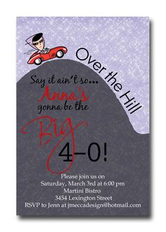 Custom Over the Hill 30th 40th 50th 60th by ATimeAndPlaceDesign