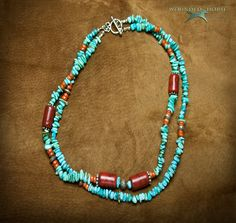 Turquoise Necklace, Kingman Turquoise, Southwest Necklace, Turquoise, Apple Coral & Sterling Silver Bead Necklace, Wounded Horse Designs. $185.00 USD, via Etsy.