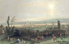 Damascus : A Panoramic View Taken From Muhajrine District, Circ.1840. Nabil Kuwatly Collection.
